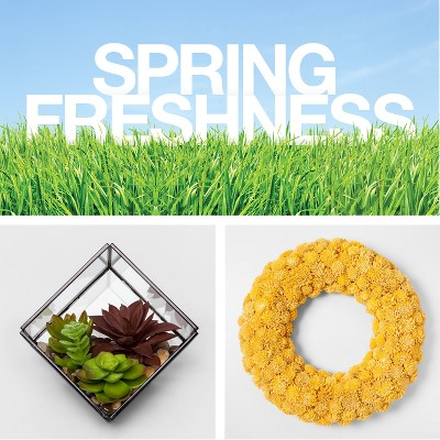 Spring Freshness, Project 62™ - Artificial Succulent in Terrarium, Smith & Hawken™ - Yellow Shola Flower Wreath