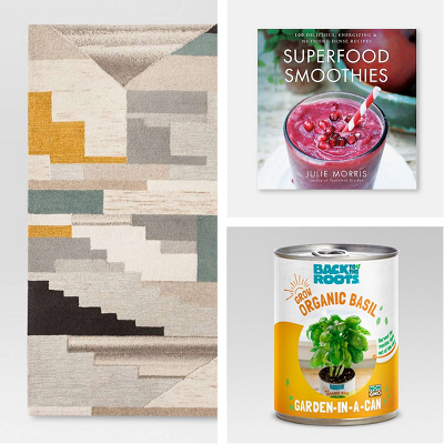 Project 62™ - Abstract Tufted Area Rug, Superfood Smoothies Hardcover Book by Julie Morris, Back to the Roots - Garden Grow Kit Basil