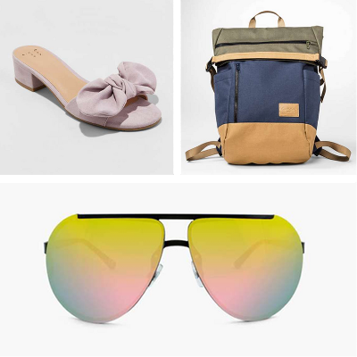A New Day™ Women's Hyleta Knotted Bow Heeled Mulesm, Goodfellow & Co™ - Men's Solid Flap Closure Backpack, Men's Rimless Aviator Sunglasses with Red Mirrored Lenses