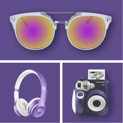 Women's Plastic Metal Combo Sunglasses with Purple Flash Lens - Matte Crystal Clear, Beats Solo3 Wireless Headphone, Polaroid 300 Instant Camera