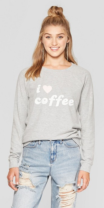Women's I Love Coffee Graphic Pullover Sweatshirt - Grayson Threads (Juniors') Heather Gray