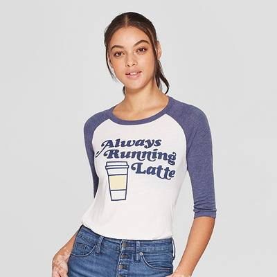 Women's 3/4 Sleeve Always Running Latte Raglan Graphic T-Shirt - Awake White/Navy