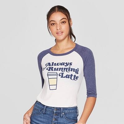 Women's 3/4 Sleeve Always Running Latte Raglan Graphic T-Shirt - Awake White/Navy