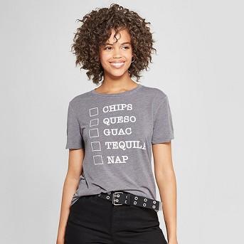 Women's Short Sleeve Chips, Queso, Guac, Tequila, Nap Graphic T-Shirt - Awake Charcoal