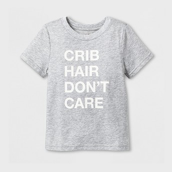 Toddler Short Sleeve 'Crib Hair' Graphic T-Shirt - Cat & Jack™ Heather Gray
