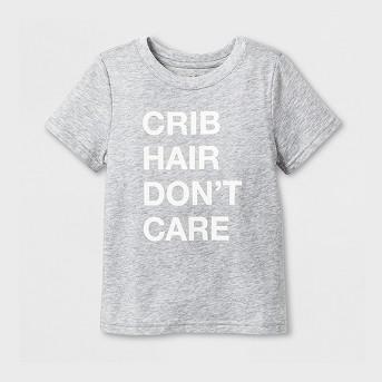 Toddler Short Sleeve 'Crib Hair' Graphic T-Shirt - Cat & Jack™ Heather Gray