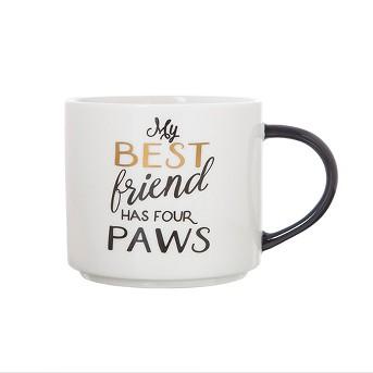 15oz Porcelain My Best Friend Has Four Paws Stackable Mug White/Black - Threshold™